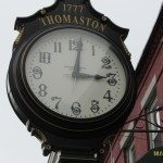 Huge clock that is on main street for all to tell the time with.