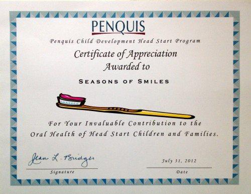 Penquis – Certificate of Appreciation
