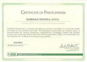 Certificate of Participation - Sterilization program.