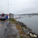 Unloading kayaks from the car in Damariscotta Maine