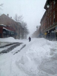 Downtown Rockland Maine in the middle of Nemo blizzard
