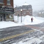 Cross country skiers are out in downtown Camden Maine. Nemo, Blizzard