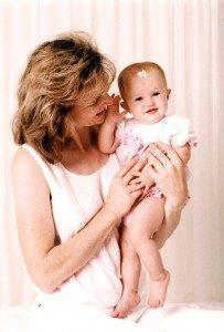 Lanita holding her baby.