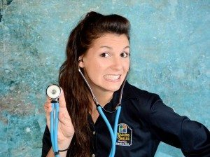 Krista Medina RN taking blood pressures at Seasons of Smiles Dental
