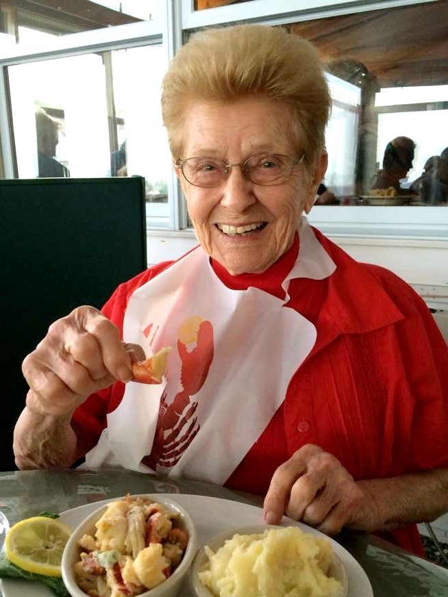 Grandma Dee enjoying her hundred and first birthday meal. Lobster Pound - Lincolnville Beach Maine
