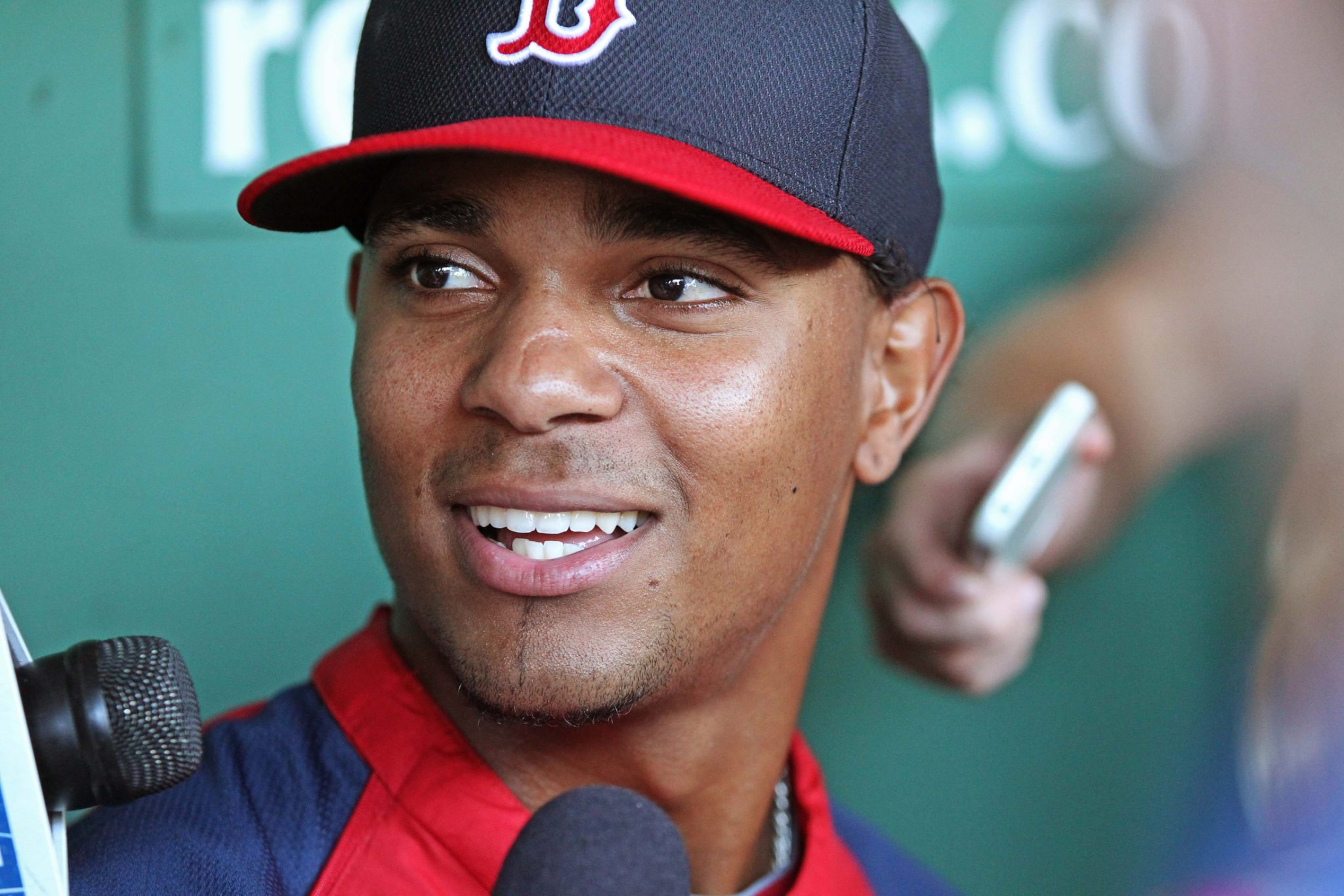 (Boston, MA 08/27/2013) Boston Red Sox shortstop Xander Bogaerts speaks to reporters before a game against the Baltimore Orioles at Fenway Park on Tuesday, August 27, 2013. Staff Photo by Matt West.